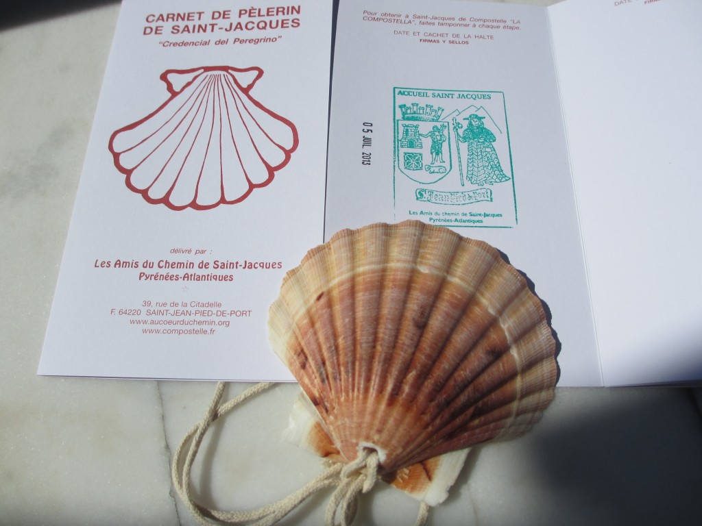 My passport, my first stamp from SJPP and Camino Shell